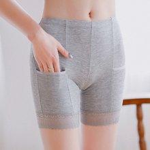 Femmes Dentelle Sécurité Pantalon Court Grande Taille Sans Couture Sous-Vêtements Amincissants Culotte Taille Haute Avec Poche Ropa Intérieur Femenina