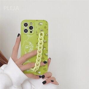 Image 1 - Thời Trang Dễ Thương Nghệ Thuật Dây Chuyền Vòng Tay Hoa Mai Dành Cho iPhone 12 11 Pro Max 7 8 Plus SE 2020 X XR XS Max Bìa Mềm Xanh Tươi Mát Trường Hợp
