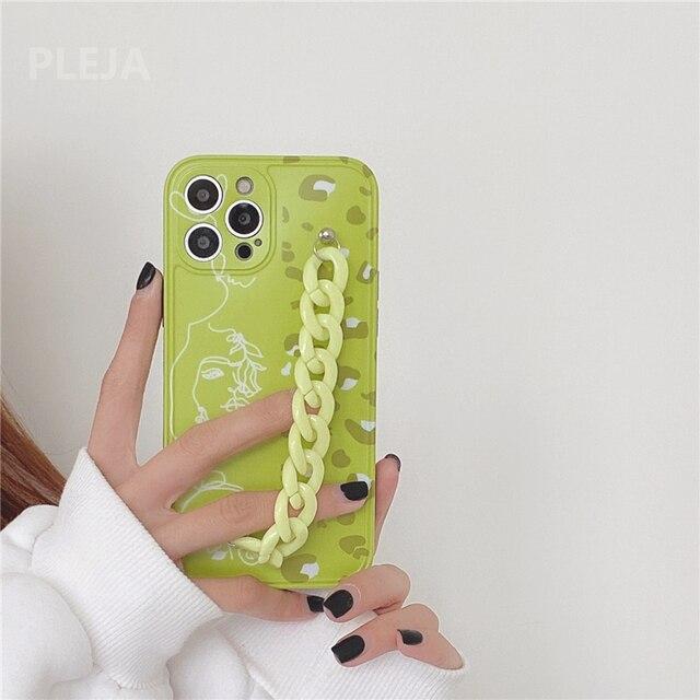 Thời Trang Dễ Thương Nghệ Thuật Dây Chuyền Vòng Tay Hoa Mai Dành Cho iPhone 12 11 Pro Max 7 8 Plus SE 2020 X XR XS Max Bìa Mềm Xanh Tươi Mát Trường Hợp