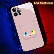 Ngộ Nghĩnh 3D Mèo Flash Mắt Smartphone Ốp Lưng Dùng Cho iPhone 11 12 Pro XS Max X XR 8 7 Plus đèn LED Đáng Yêu Gọi Ánh Sáng Thông Minh Túi Hộp
