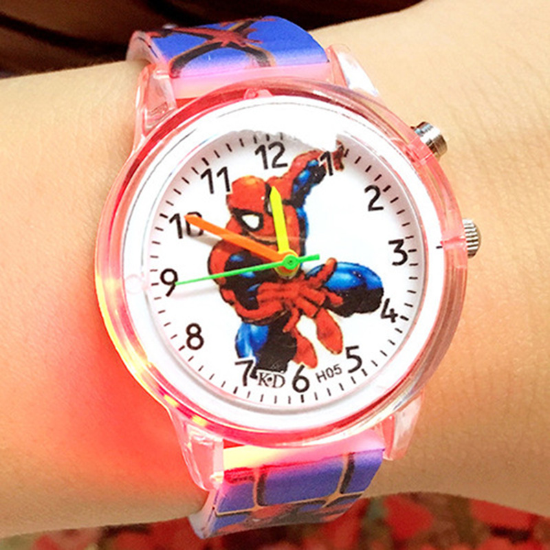 2019 New Relojes Children Light Source Marvel Hero Cartoon Watch Spiderman Students Watches Cute Rubber Watch Gifts