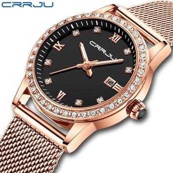 CRRJU złoty zegarek kobiety zegarki kwarcowe pani zegarek wodoodporny kobiet bransoletka kobieta zegar Relogio Feminino Montre Femme tanie i dobre opinie QUARTZ Składane bezpieczne zapięcie CN (pochodzenie) STOP 3Bar Moda casual 16mm ROUND Odporne na wodę Hardlex CRRJU-2186