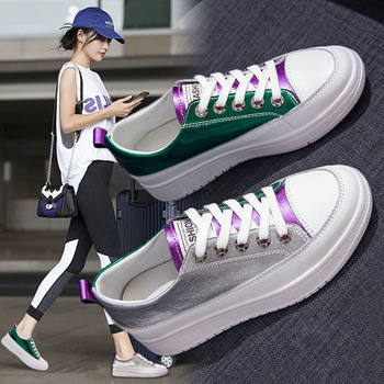 Platform sneakers Non-slip board shoes 2020 New Real Leather womens shoes Flat shoes women Sneakers white shoes woman Loafers