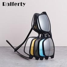 Ralferty ímã óculos de sol homem polarizado clip em óculos feminino quadrado óculos tr90 uv400 3d óptica quadros 7 em 1 oculos a2247