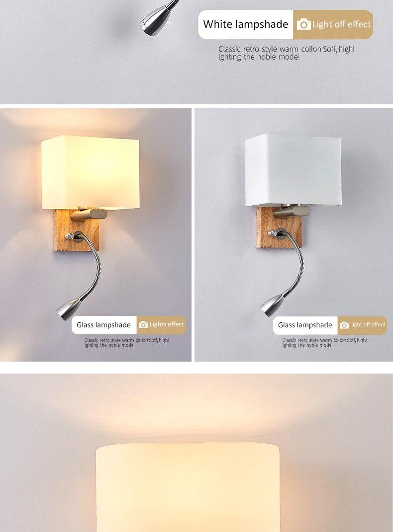 Nordic lâmpada de parede moderna tecido sombreamento