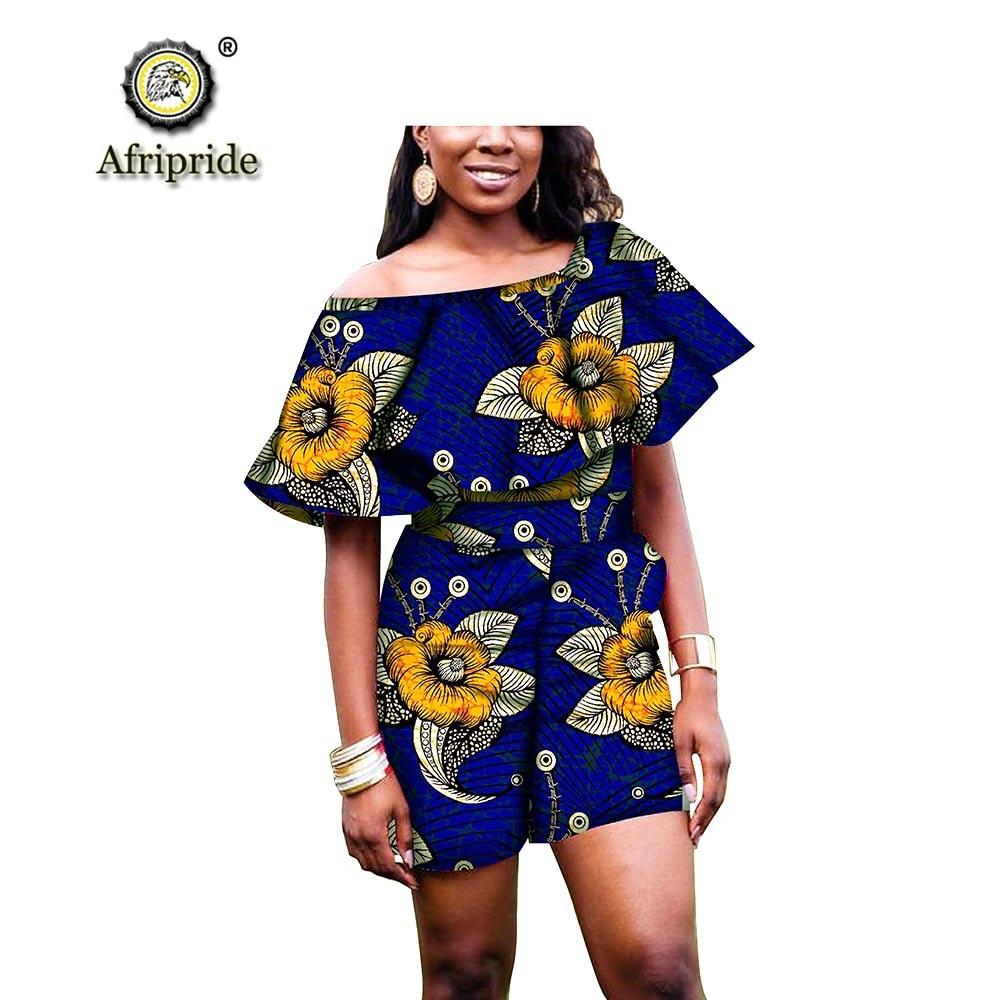 2019 여성을위한 아프리카 옷 2 피스 세트 앙카라 탑 + 프린트 바지 대시 키 복장 아프리카 패브릭 플러스 사이즈 파티 착용 s1826017-에서여성 세트부터 여성 의류 의  그룹 1