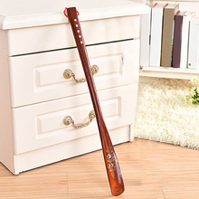 55cm Home Lifter Hanging Loop Shoe Horn Long Handle Wooden Red Flexible Durable Portable Practical Useful Stick