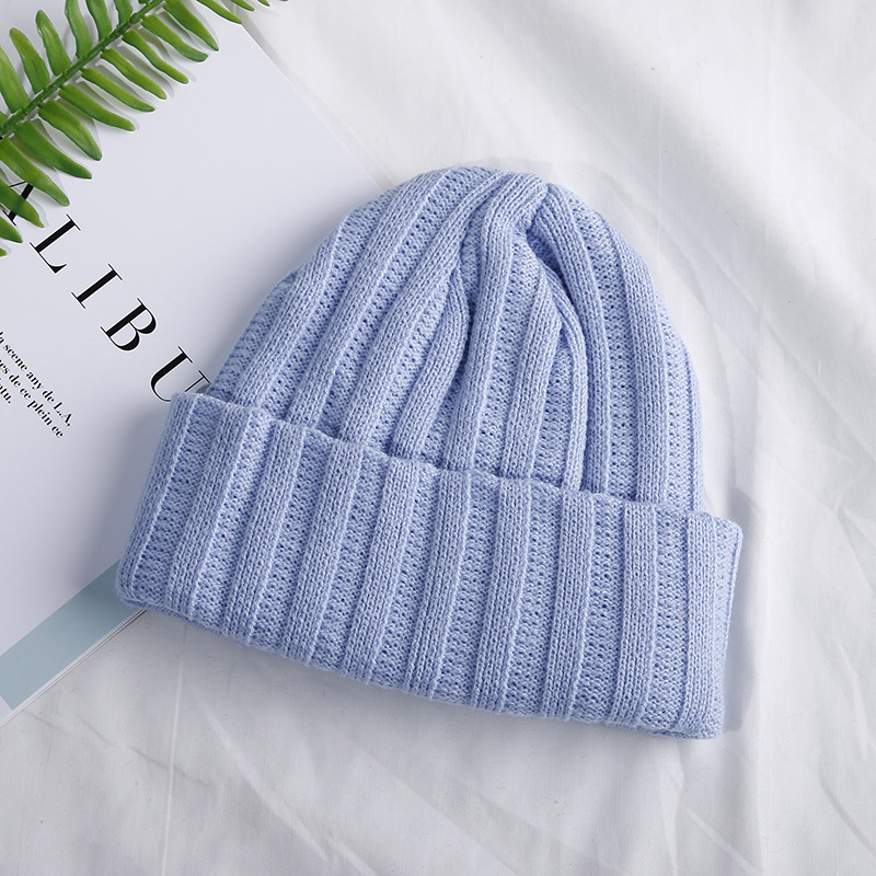 Winter Knitted Skullcap Adult Casual Hip Hop Hat Child Acrylic Beanie Cap Unisex Solid Color Keep Warm Elastic Hats
