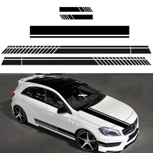 Car Decorative Accessories 5 Pieces Car Hood Stripe Graphic Decal Vinyl Body Racing Rearview mirror Sticker цена и фото