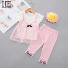 HE Hello Enjoy Baby Girls Clothing Sets 2020 Summer New Kids Short sleeve Lace Sling T-shirt+Pants 2Pcs Children Clothes 1-5T(China)
