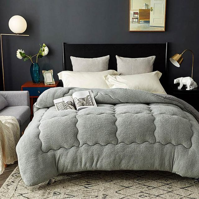 Svetanya edredón cálido grueso para cama, relleno de Cachemira de cordero Artificial, manta