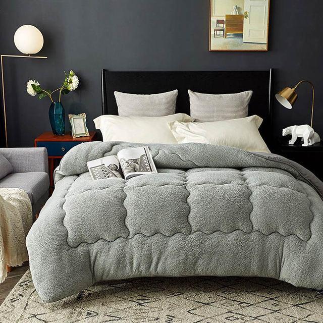 Svetanya quente consolador grosso enchimento de cama artificial cordeiro cashmere joga cobertor