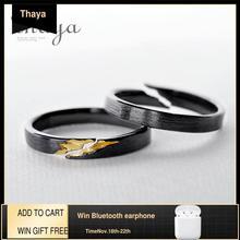 Thaya S925スターリングシルバー金亀裂リング古代黒木目女性手作りスタッカブル女性パーティーファッションジュエリー
