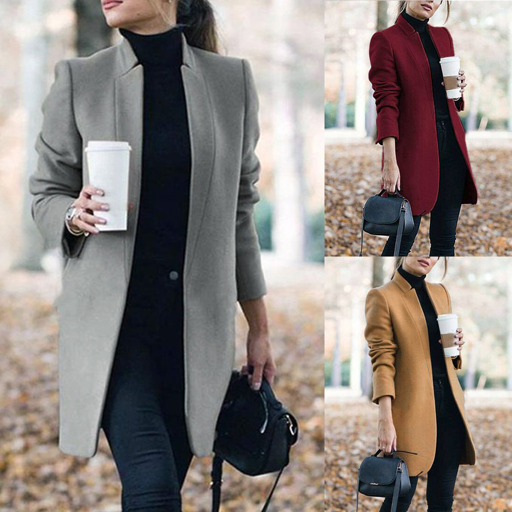 Blazer Women Winter Coat Women Wool Coat пальто женское Artificial Wool Coat Trench Jacket Warm Long Overcoat Outwear Free Ship