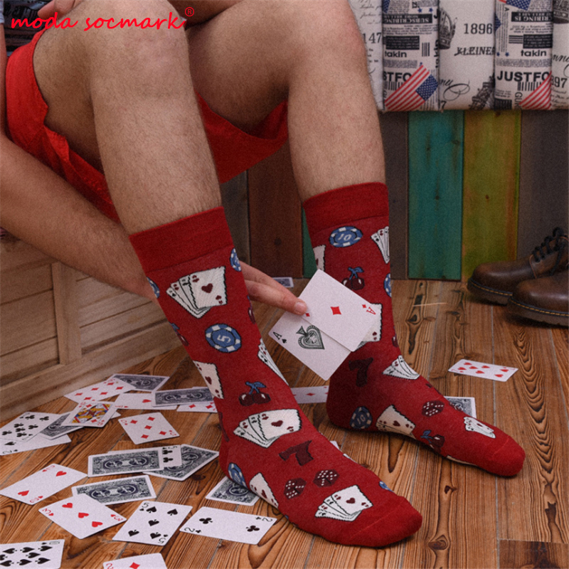 Harajuku Happy Socks Men's Funny Combed Cotton Dress Casual Wedding Socks Colorful Novelty Skateboard Socks Men Poker Pattern