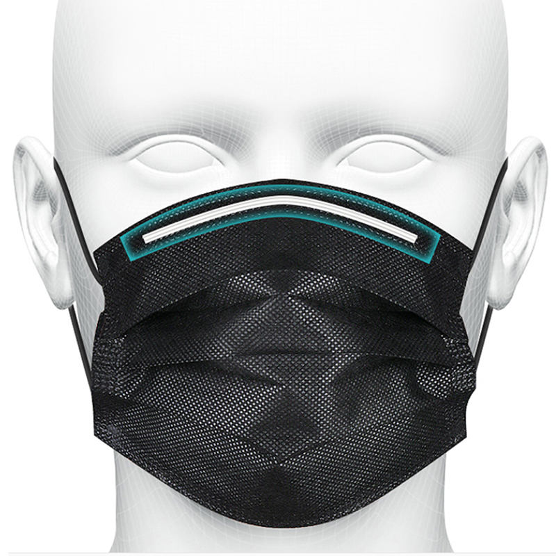 Disposable Mask Anti-pollution Mask Black Adult Unisex Protective Fabric Dust Mask Single Individually Packed