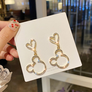 Cute Mickey Heart Earrings Dangle Crystals Silver-plated Mouse Accessories Wholesale Charm Elegant Luxury Jewelry For Woman
