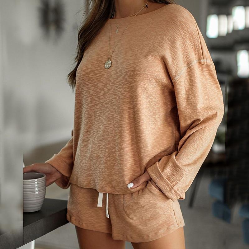 2020 New loungewear women pajama set summer breathable nightgown sleepwear indoor long sleeve sleep tops two pieces pijama mujer (2)