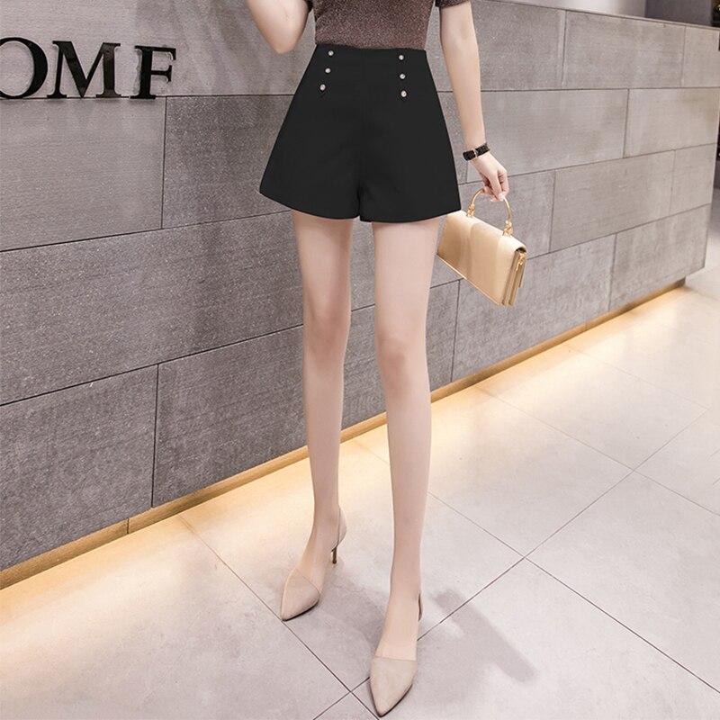 Женские шорты, Летние шифоновые шорты с высокой талией и широкими штанинами, офисная мода, женская одежда, черные, белые шорты с молнией сзади|Шорты| | АлиЭкспресс