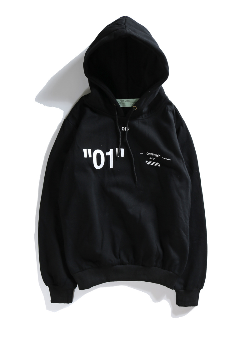 European And American-Style Popular Brand Off White Men's And Women's Geometric With Numbers 01 Printed Religious Hooded Hoodies