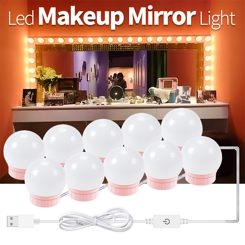 Led Make-Up Spiegel Licht LED Hollywood Licht 2 6 10 14 Lamp 12V EU US Plug Dimbare Touch Control DIY Verlichting Voor Kaptafel