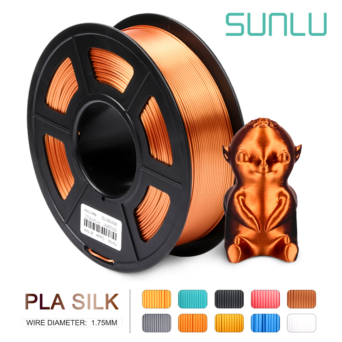 PLA SILK Filament  Copper SILK 1kg 2.2 Lbs 1.75mm Per Roll 3D Printer Filament DIY For 3D Printing Refills