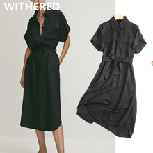 Withered 2020 vestidos de fiesta de noche england style office lady black simple fashion summer