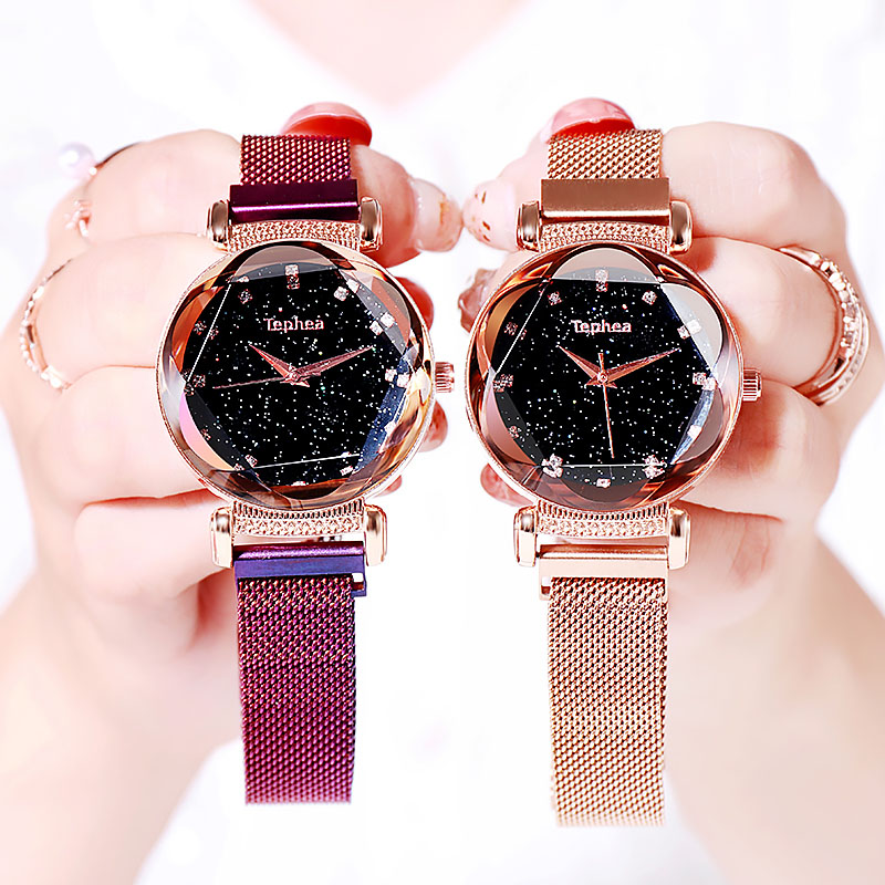 2019 Brand Luxury Women Watches Fashion Diamond Starry Sky Ladies Quartz Clock Magnet Buckle Geometric Surface Female Relogio in Women 39 s Watches from Watches
