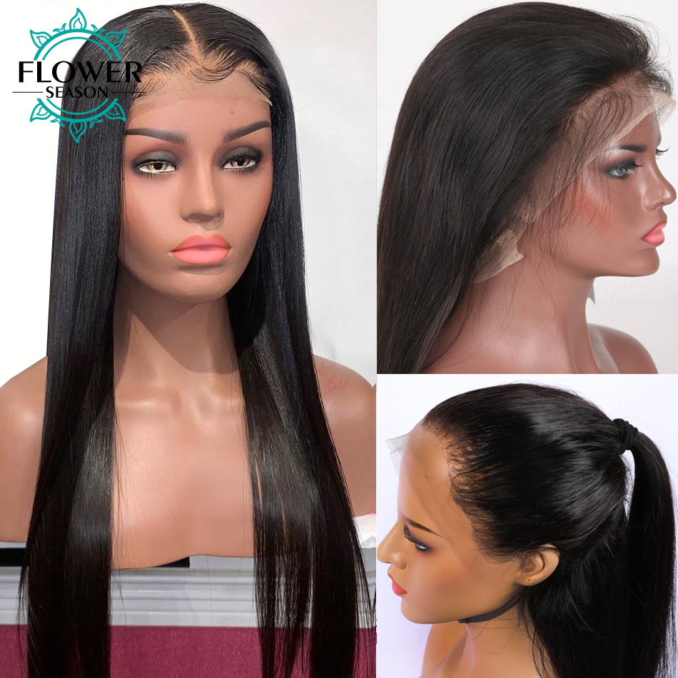 13x6 Lace Front Human Hair Wigs Bleached Knots Pre Plucked Remy Brazilian Straight Lace Front Wig With Baby Hair FlowerSeason