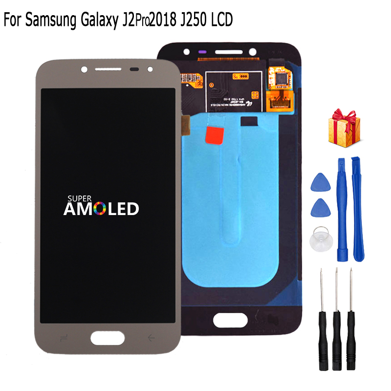 Original Amoled LCD J250  For Samsung Galaxy J2 Pro 2018 J250 J250F LCD Display Touch Screen Digitizer Assembly Phone Parts