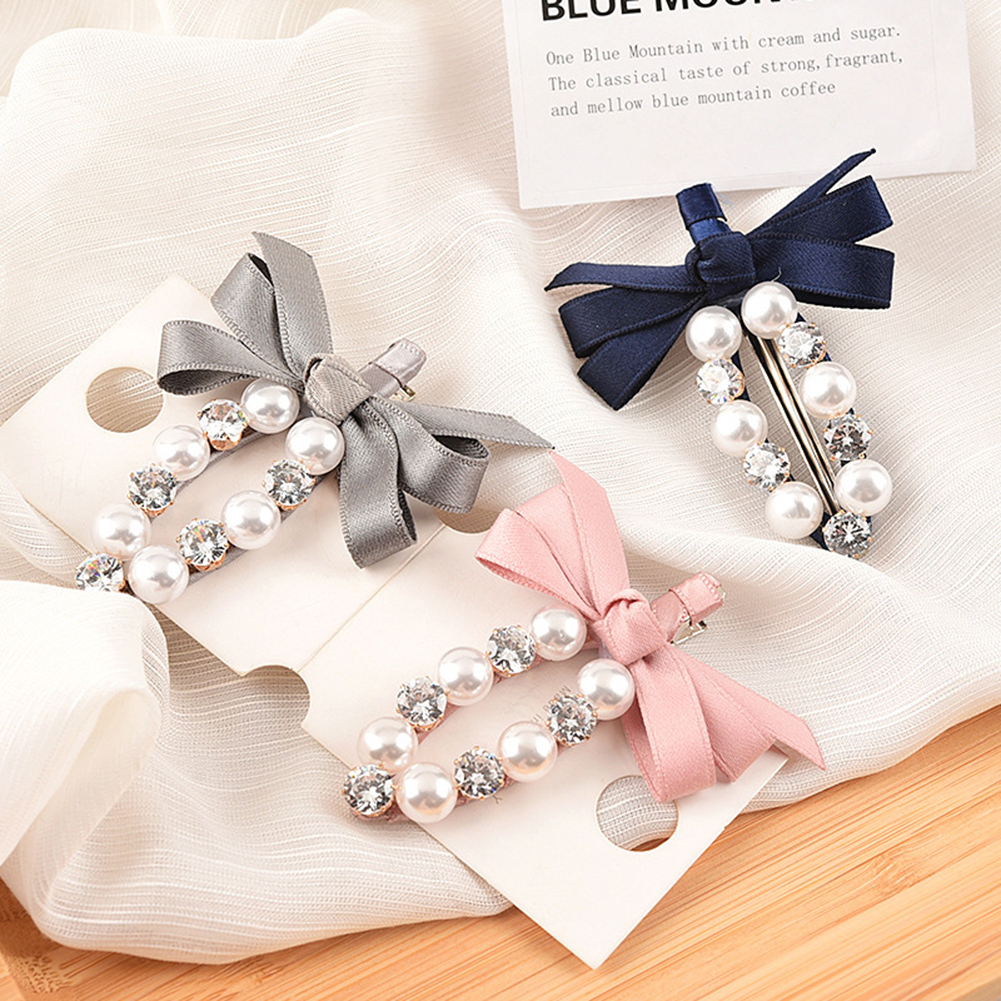 New Fashion Pearl Bow Crystal Hair Clip Bobby Pin Barrettes Cute Pearl Hairpin Hair Styling Accessories Tools Gift Hairpins