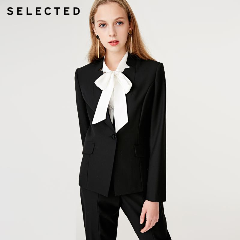SELECTED Women's Slim Fit Woolen Stand-up Collar Suit Jacket SIG|418472503