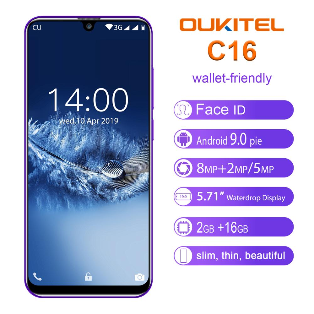 OUKITEL C16 5.71''<font><b>Android</b></font> <font><b>9.0</b></font> 19:9 Waterdrop Screen CellPhone MT6580P 2GB RAM 16GB ROM <font><b>Smartphone</b></font> Dual Back Camera Mobile Phone image