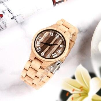 Женские деревянные часы из натурального бамбукового дерева, часы от ведущего бренда, Роскошные Кварцевые женские нарядные часы, деревянный...