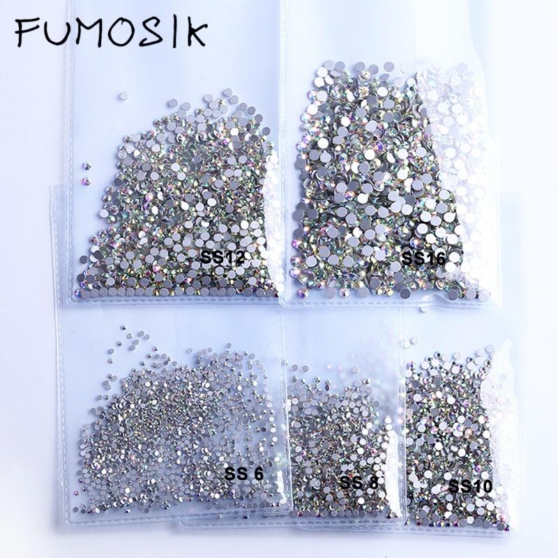 Стразы для дизайна ногтей, кристалл AB clear SS3-SS40 (1,3 мм-8,4 мм), не горячая фиксация, стразы s для ногтей, 3D драгоценные камни для дизайна ногтей
