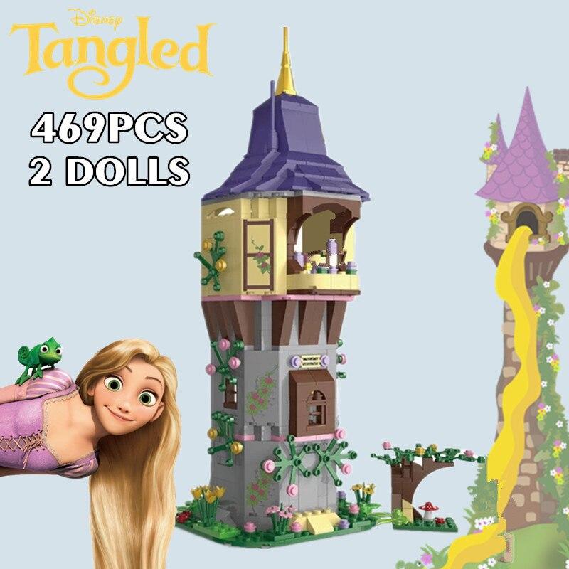 Новый 469 шт. Disney замок на открытом воздухе и Рапунцель Запутанная история Эльзы из мультфильма