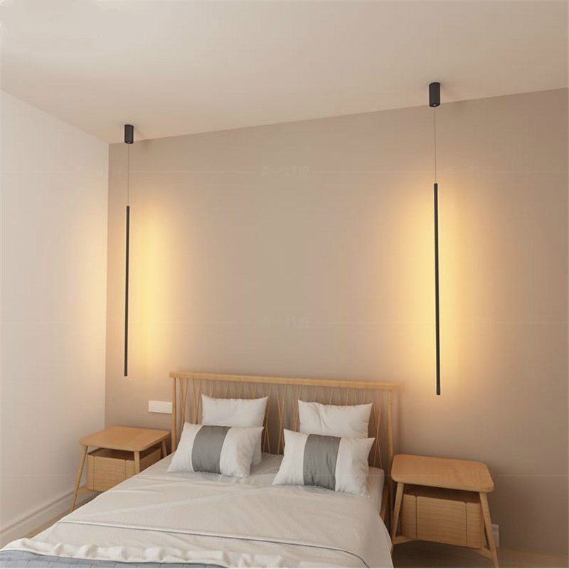 Nordic Designer Strip Pendant Lights Bedroom Bedside Lamp Minimalist Home Decor Pendant Lamp Creative Living Room Light Fixture