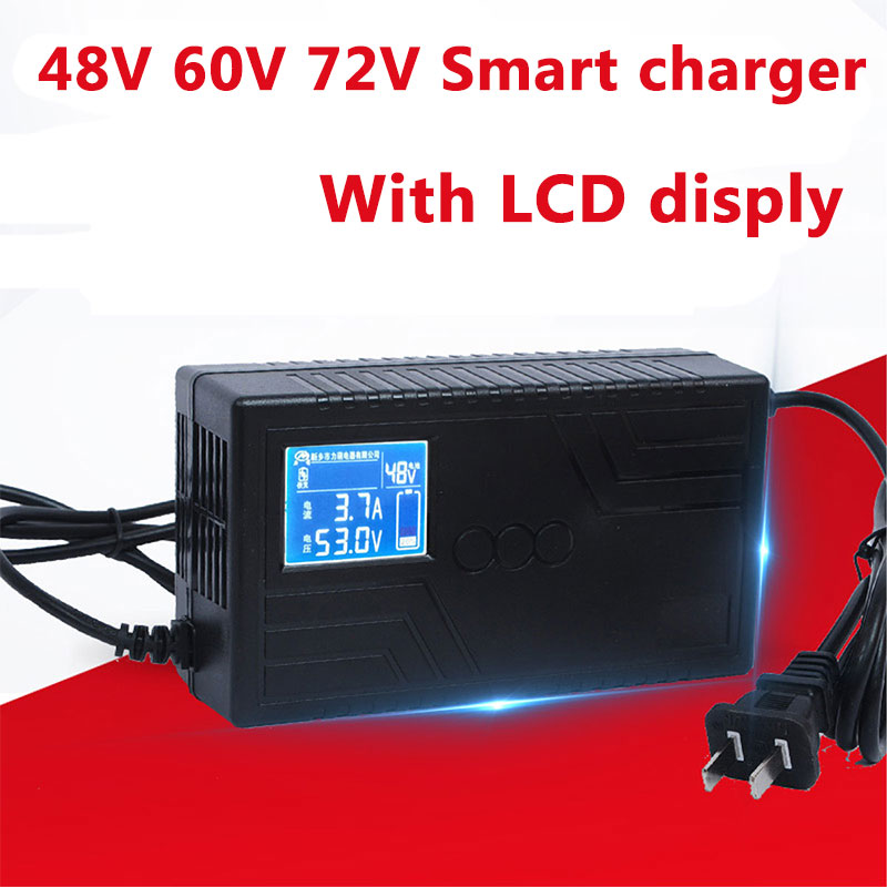 48V 60V 72V Lithium li ion LiFepo4 Lead acid battery charger with LCD Display screen for scooter ebike
