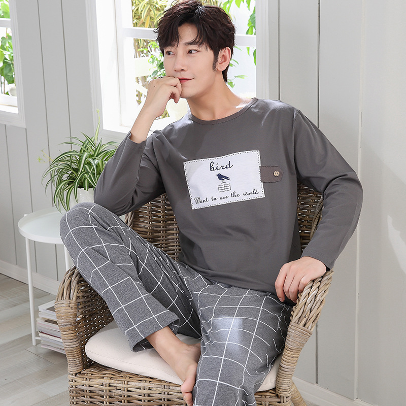 Autumn Winter Knitted Men's Pyjamas Cotton Cartoon Cartoon Pajamas Set Male Sleepwear Pyjamas Nightsuits Pijama XXL Homewear