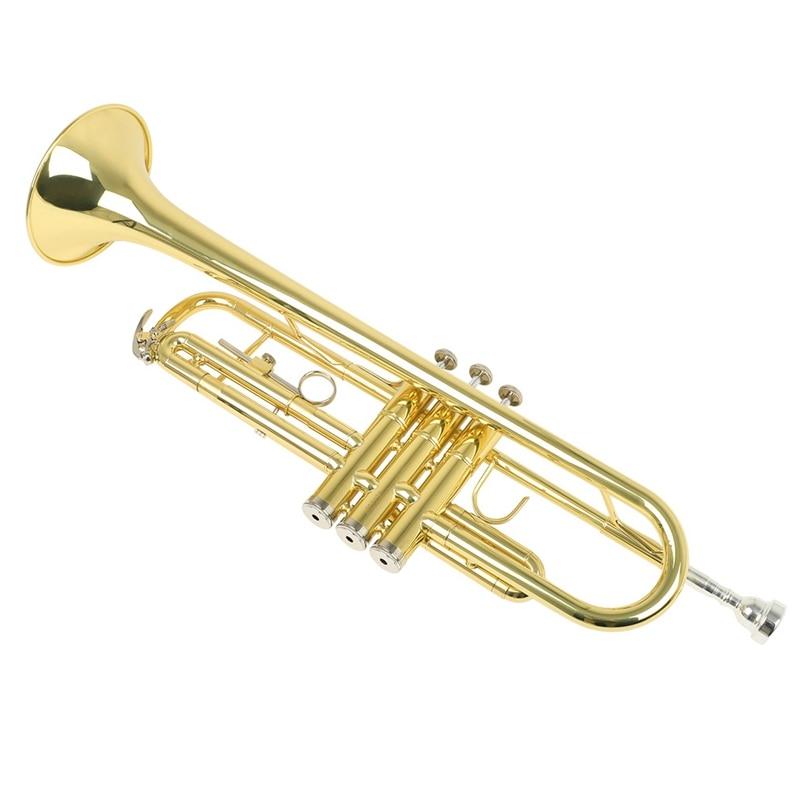 Bb труба B плоская латунная позолоченная изысканный прочный музыкальный инструмент с мундштуком перчатки ремень латунная Золотая Труба - 2