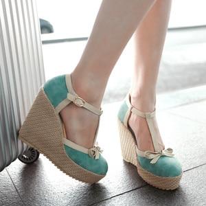 CHAMSGEND Women's shoes high heels Women's Platform Wedges Shoes Bowknot Buckle High Heel Sandals Women's casual shoes