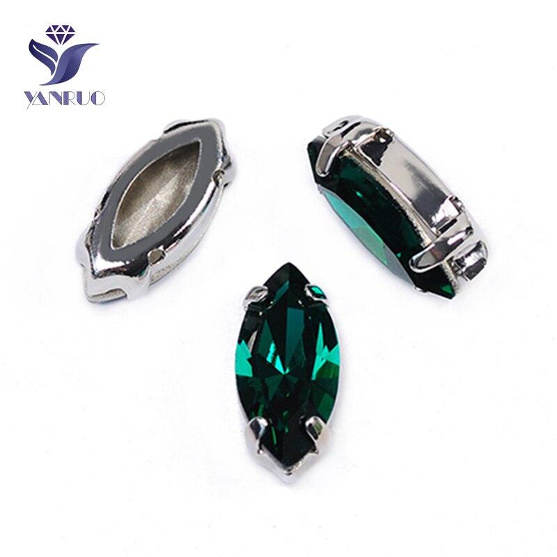YANRUO 4200 wszystkie rozmiary Emerald Navette rękodzieło punkt powrót szkło kamienie Strass kryształ szyć na aplikacja ze strasu dla rzemiosła