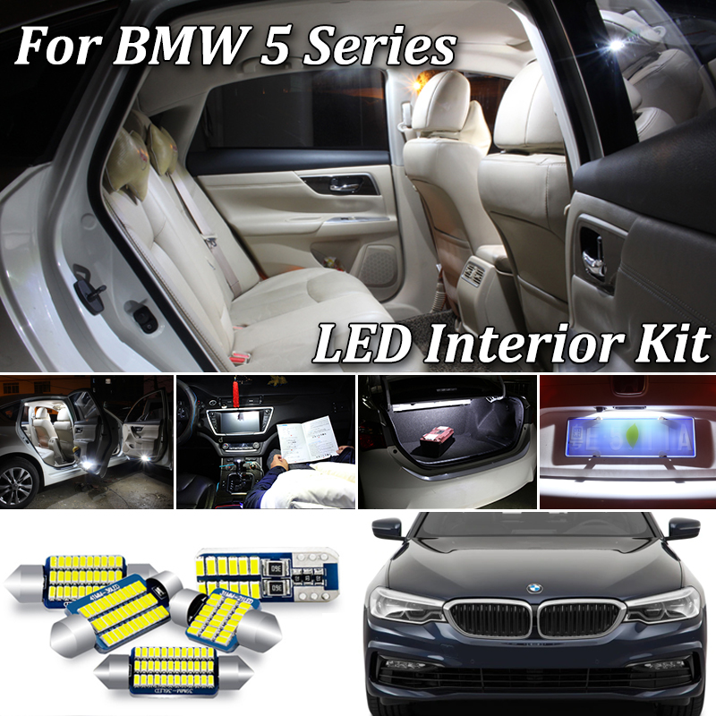 For <font><b>BMW</b></font> 5 Series E39 <font><b>E60</b></font> E61 F10 F11 M5 FULL <font><b>LED</b></font> <font><b>Interior</b></font> Lights kit Error Free SMD <font><b>LED</b></font> <font><b>Bulbs</b></font> White Crystal blue (1996-2017) image