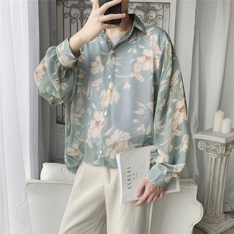 Autumn New Flower Shirt Men Fashion Printed Casual Shirt Men Wild Hawaiian Shirt Man Streetwear Loose Long-sleeved Shirts Male