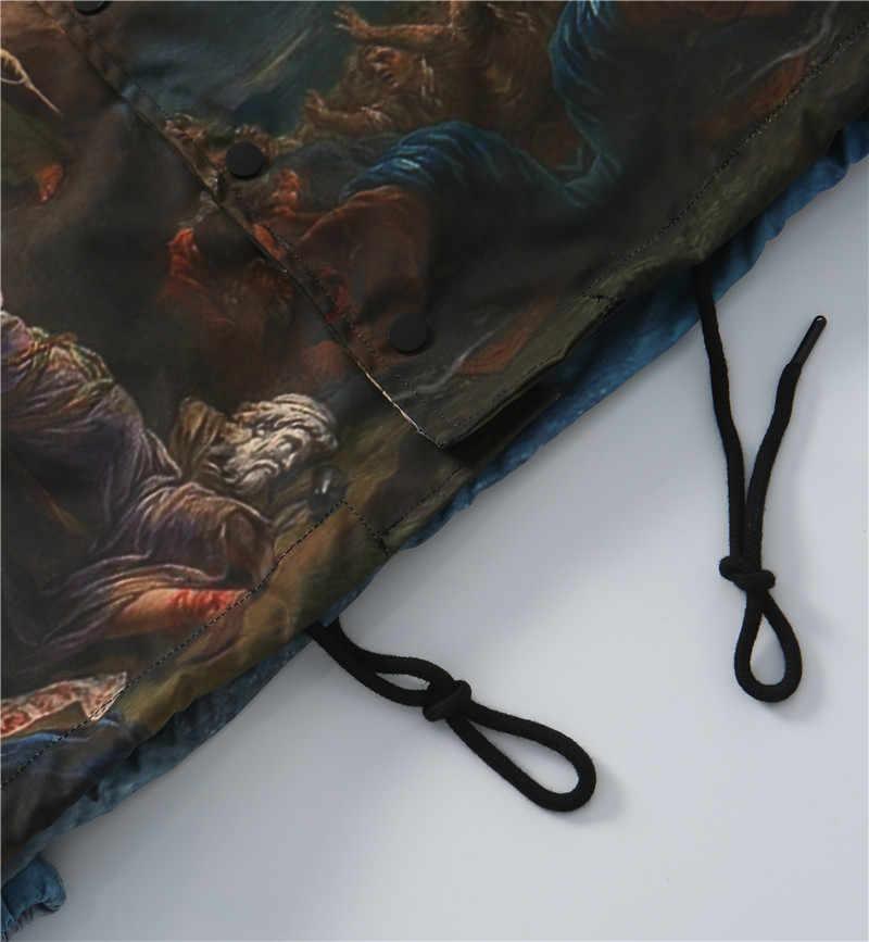 גברים של מעיל רוח רנסנס שמן ציור התפילות לגאולה מעילי כיסי רוכסן אימונית מעיל להאריך ימים יותר