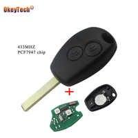 OkeyTech 2 Tasten Fernbedienung Schlüssel Abdeckung Für Renault Duster Modus Clio 3 Twingo DACIA Logan Sandero 433MHz ID46 PCF7947 Chip