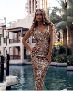 Image 2 - Seamyla New Bodycon Sexy Summer Dress Vestidos Luxury Sequined Dresses Women Spaghetti Strap Night Out Club Evening Party Dress
