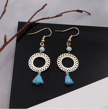 Hello Miss Simple hollow circle earrings temperament wild tassel fashion womens jewelry clothing decoration