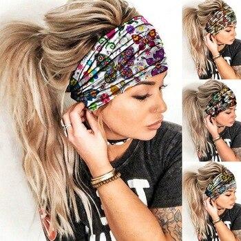 Women Wide Sports Yoga Headband Stretch Hairband Elastic Print Hair Band Boho Turban Hair Accessorie