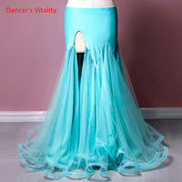 New Belly Dance Wear Competition Outfits Customized Chiffon Sexy Split Skirt Oriental Indian Dancers Stage Performance Costume